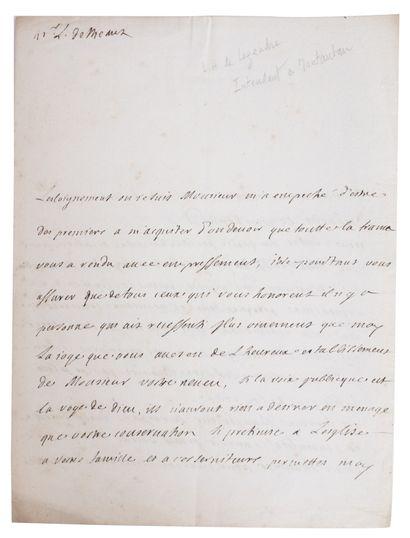 LEGENDRE DE LORMOY (Gaspard-François). Copie...