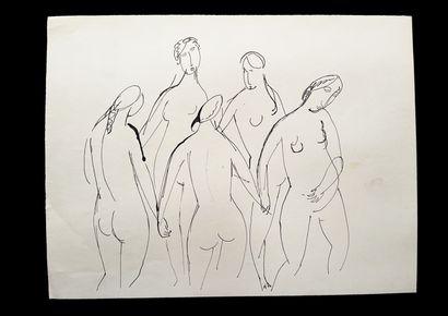 Bengt Lindström (1925-2008) Personnages. Ensemble de deux dessins à l'encre sur papier....
