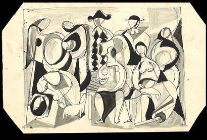 Bengt Lindström (1925-2008) Dessin recto verso. Encre sur papier. Recto Femme Verso...