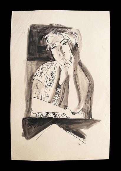 Bengt Lindström (1925-2008) Ensemble de deux dessins à l'encre sur papier. L'homme...