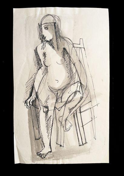 Bengt Lindström (1925-2008) Ensemble de deux etudes de femmes assises. Dessin à l'encre...