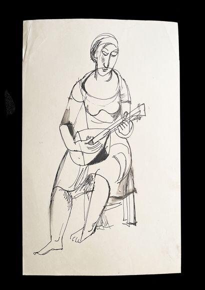 Bengt Lindström (1925-2008) Femme à la mandoline. Ensemble de deux dessins à l'encre...