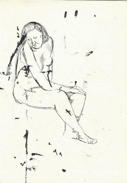Bengt Lindström (1925-2008) Etude de nu. Dessin à l'encre sur papier recto verso....