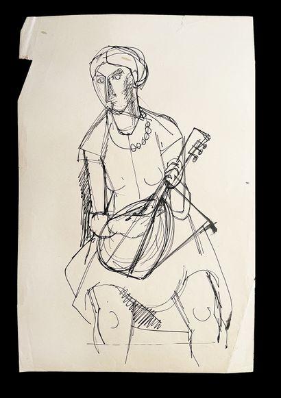 Bengt Lindström (1925-2008) Ensemble de deux dessins à l'encre sur papier. H_32 cm...