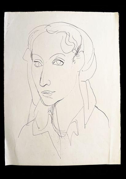 Bengt Lindström (1925-2008) Portrait. Ensemble de trois dessins à l'encre sur papier....