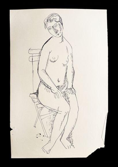 Bengt Lindström (1925-2008) Femme sur une chaise. Ensmeble de quatre dessins à l'encre...