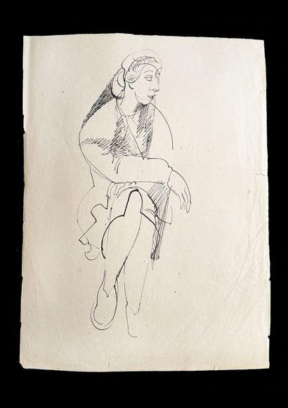 Bengt Lindström (1925-2008) Study. Set of three ink drawings on paper. 1 : H_31 cm...