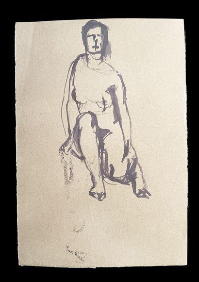 Bengt Lindström (1925-2008) Etude. Ensemble de deux dessins à l'encre sur papier....