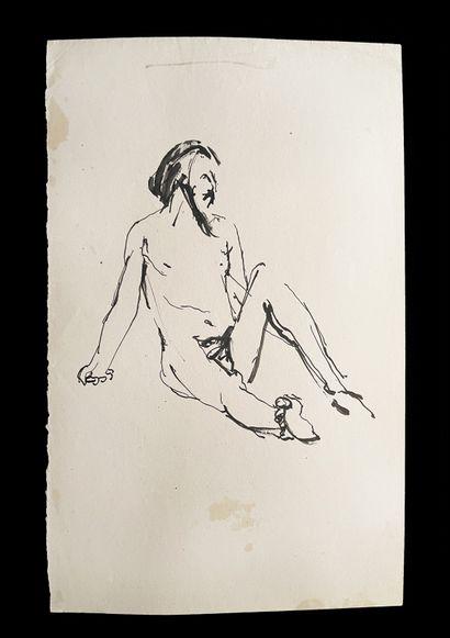 Bengt Lindström (1925-2008) Etude de nus. Ensemble de deux dessins à l'encre sur...