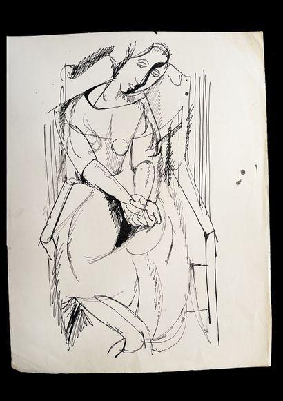 Bengt Lindström (1925-2008) Etude de femme. Ensemble de deux dessins à l'encre sur...