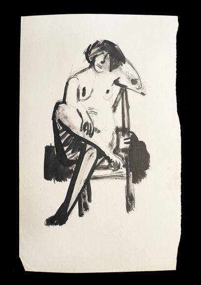 Bengt Lindström (1925-2008) Femme. Ensmeble de deux dessins. Encre sur papier : H_31,5...