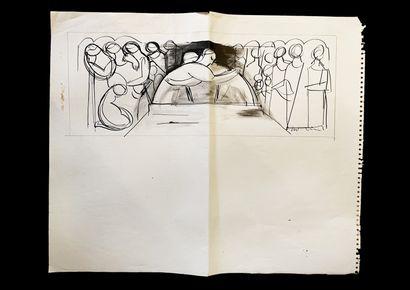 Bengt Lindström (1925-2008) Etude. Ensemble de quatre dessins à l'encre sur papier....