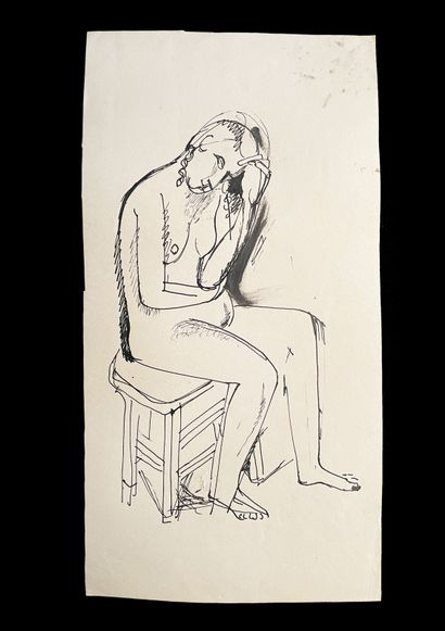 Bengt Lindström (1925-2008) Femme assise. Ensemble de deux dessins à l'encre sur...
