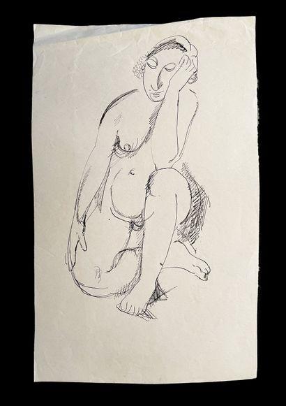 Bengt Lindström (1925-2008) Etude de femmes. Ensemble de quatre dessins à l'encre...