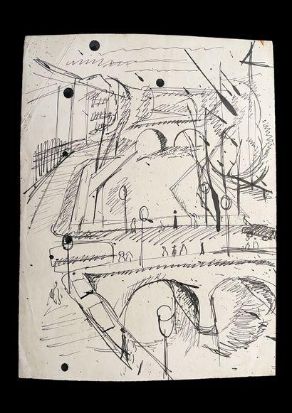 Bengt Lindström (1925-2008) Ponts. Ensmeble de deux dessins à l'encre sur papier....
