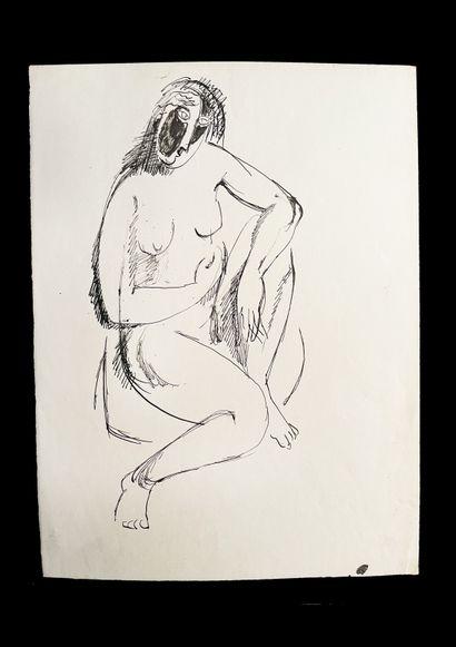Bengt Lindström (1925-2008) Etude. Ensemble de trois dessins à l'encre sur papier....