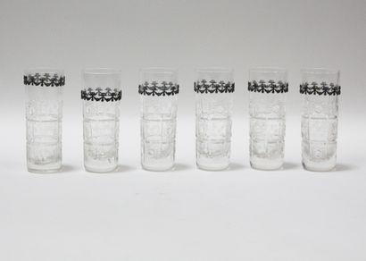 Ensemble de six verres à orangeade au décor...