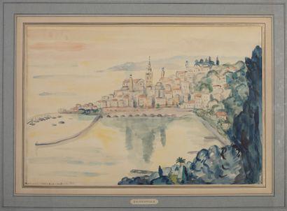 HENRY DAUBERVILLE (1907-1988) Le port, vue de Menton, 28 août 1961 Aquarelle signée...