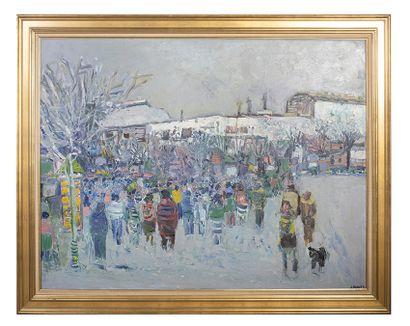 ALAIN MATHIOT (Né en 1938) Attroupement Huile sur toile signée en bas à droite H_89...