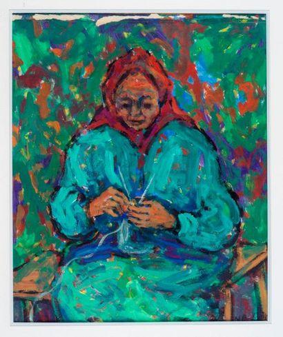 Nathan Gutman (1914-1990) Vieille femme tricotant Peinture sur papier signé H_44,5...