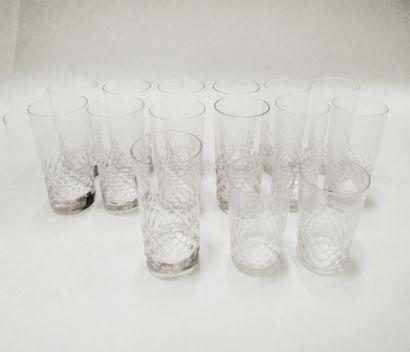 BACCARAT. Ensemble de 13 verres à orangeade...