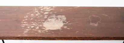 Console en bois naturel et piètement métallique. H_74 cm L_140 cm