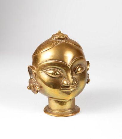 Tête africaine en bronze doré H_16 cm