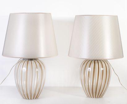 Paire de lampes Verre de Murano H_73 cm