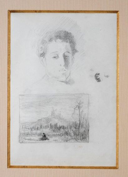 Félix Ziem (1821-1911) Etude de tête de jeune...