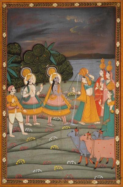 Ecole indienne, XIXe siècle Divinités Huile...