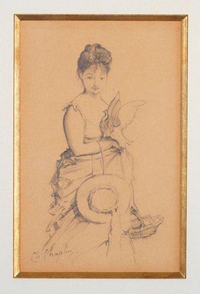 Charles Chaplin (1825-1891) Jeune fille à la colombre Dessin sur papier signé H_20,5...