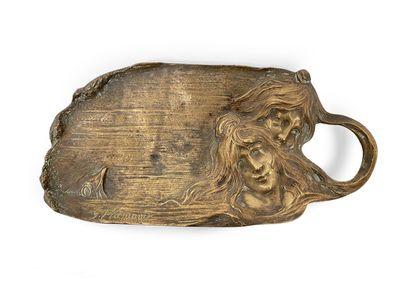 Georges Flamand. Coupe vide poche en bronze...