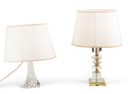 Cristalerie Lorraine. Paire de lampes en...