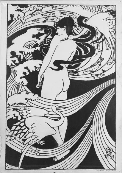 Femme nue de dos Affiche datée 1891. H_83,5 cm L_59,5 cm
