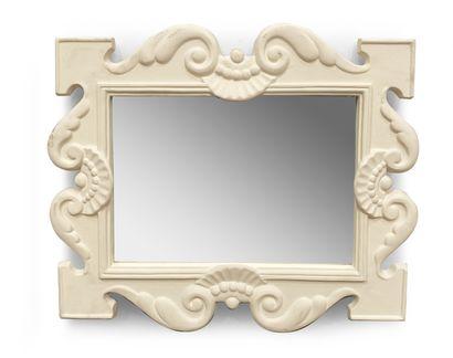 Miroir en plâtre à décor de coquilles et...