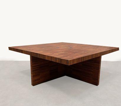 Grand bureau / table de conférence en placage...
