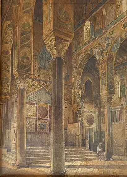 Ecole Française, 1856 Vue de l'intérieure de la chapelle Palatine de Palerme Aquarelle...