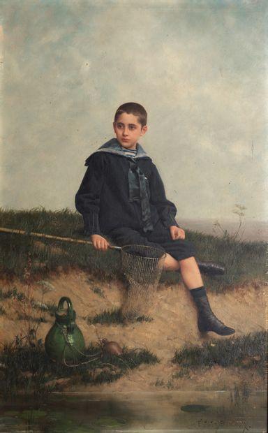 EMILE EISMAN-SEMENOWSKY (1859-1911). Le jeune pêcheur (1884). Huile sur panneau...