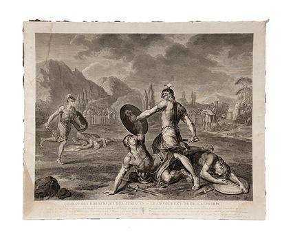 Ensemble de quatre gravures comprenant : - Combats des Horaces et des Curiaces ou...