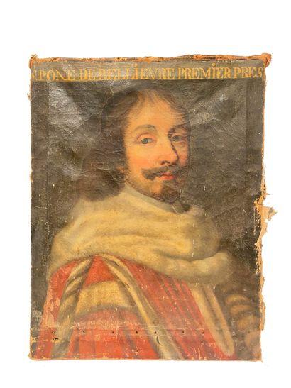 Ecole Française vers 1650 Portrait de Monsieur Pomponne II de Bélièvre Huile sur...