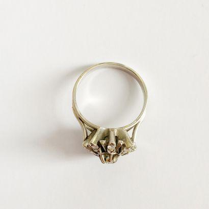 Bague en or gris 18K (750), le chaton étoilé centré d'un diamant brillant dans un...