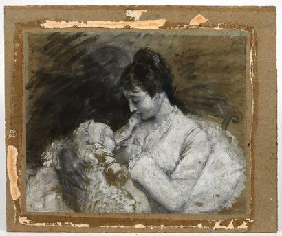 Attribué à Henri Gervex Femme et enfant Aquarelle,...