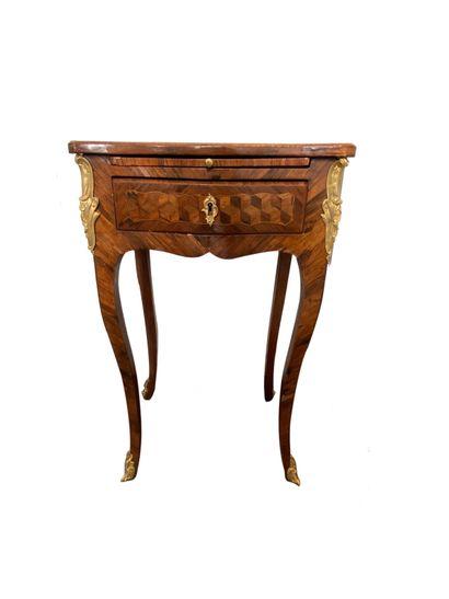 Table de salon en bois de placage en grisage...