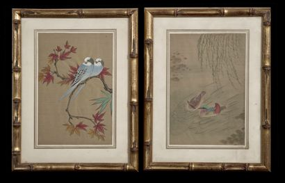 Portant un cachet représentant des oiseaux.  H_18 cm L_12 cm (chaque)    Offert...