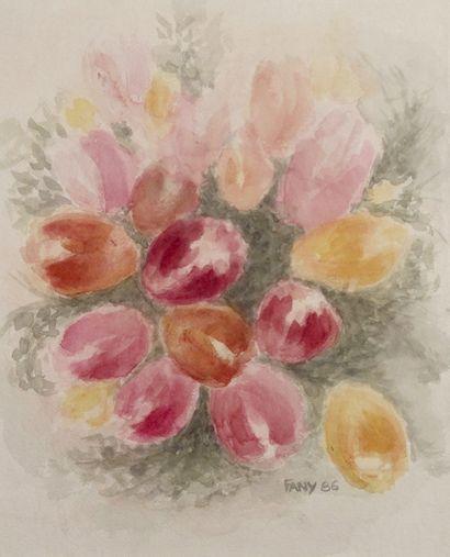 Fany Tulipes royales, 1986  Aquarelle sur papier.  Signée et datée en bas à droite....