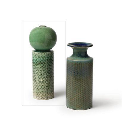 STIG LINDBERG (1916-1982) «Bilboquet» Vase cylindrique, vers 1950 Émail céladon Manufacture...