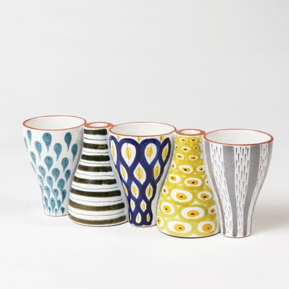 STIG LINDBERG (1916-1982) Vase réversible en 5 éléments, vers 1960 Faïence, émail...