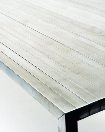 POL QUADENS Prototype Table 30 / 30 Aluminium brossé 2011 L_250 cm P_86 cm