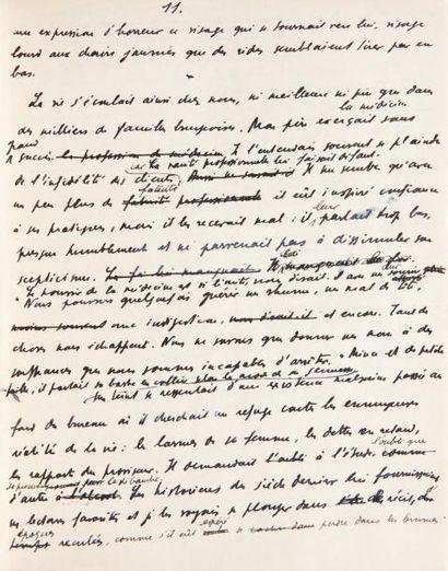 JULIEN GREEN L'AUTRE SOMMEIL Manuscrit autographe daté à la fin «Paris, 15 Novembre...