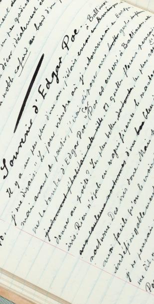 JULIEN GREEN MON AMÉRIQUE Manuscrit autographe d'environ 63 pages in-4 + une douzaine...